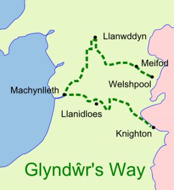 Glyndwr's Way map