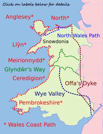 Wales Walking Holidays map